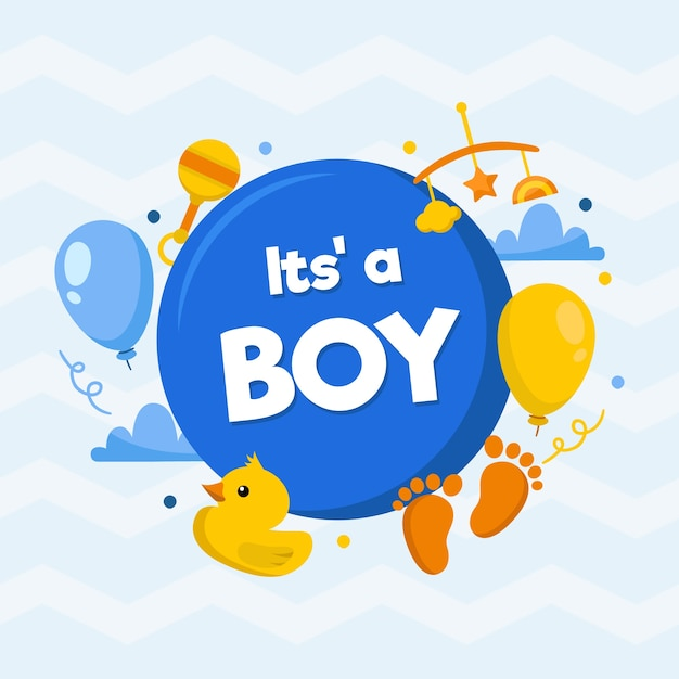 Boy baby shower background Free Vector