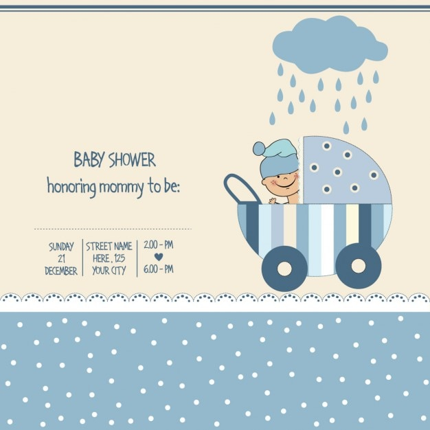 Boy Baby Shower Card Free Vector