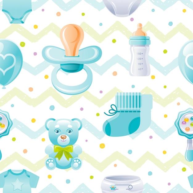 Boy baby shower seamless pattern Premium Vector