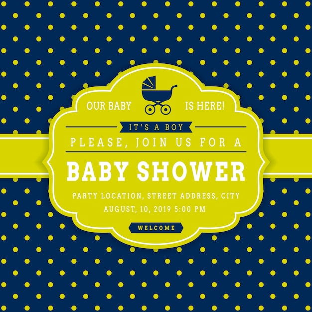 Boy baby shower. vector invitation card template Premium Vector