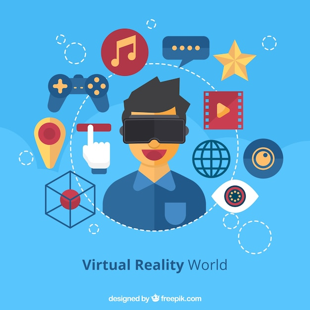 Boy background with virtual reality glasses Free Vector