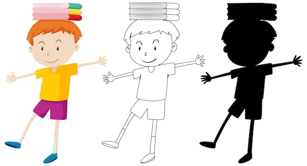 Boy balancing books on his head in color and outline and silhouette Free Vector