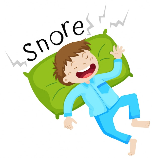 Boy in bed snoring Free Vector