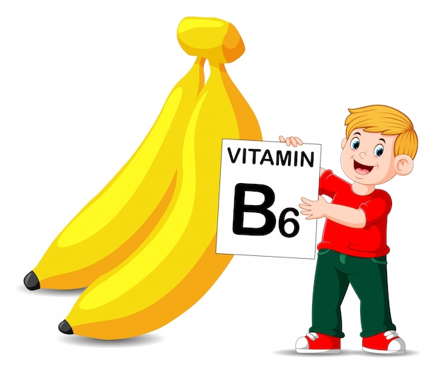 Premium Vector | The boy beside the banana is holding the vitamin b6 board