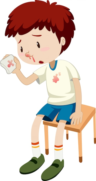 A boy bleeding nose Free Vector