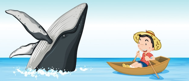 Boy on the boat next to whale Free Vector
