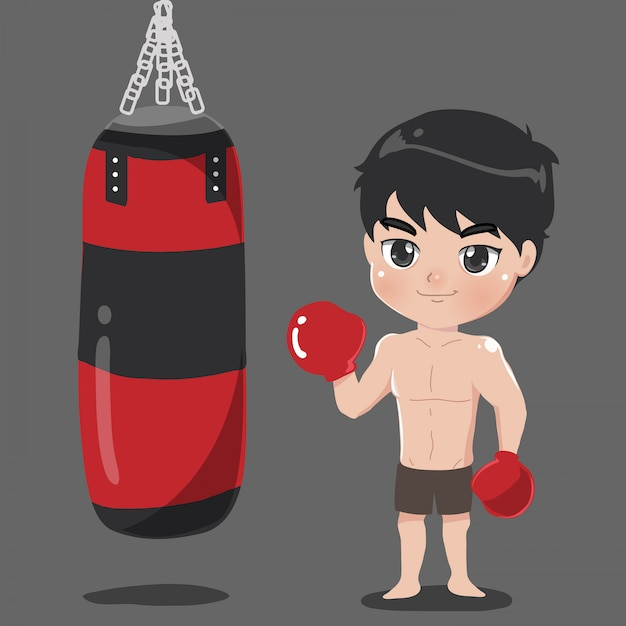 Boy boxer with punch bag carrier. Premium Vector