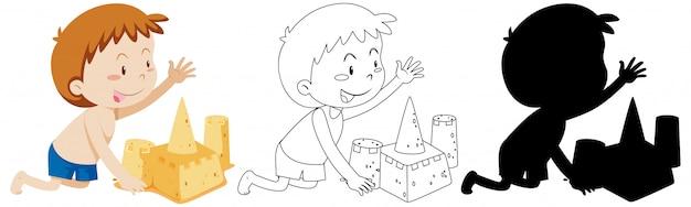 その少年の輪郭とシルエットの砂の城を構築 無料ベクター