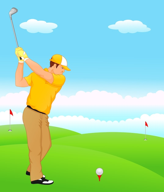 Boy cartoon golf player Premium Vector