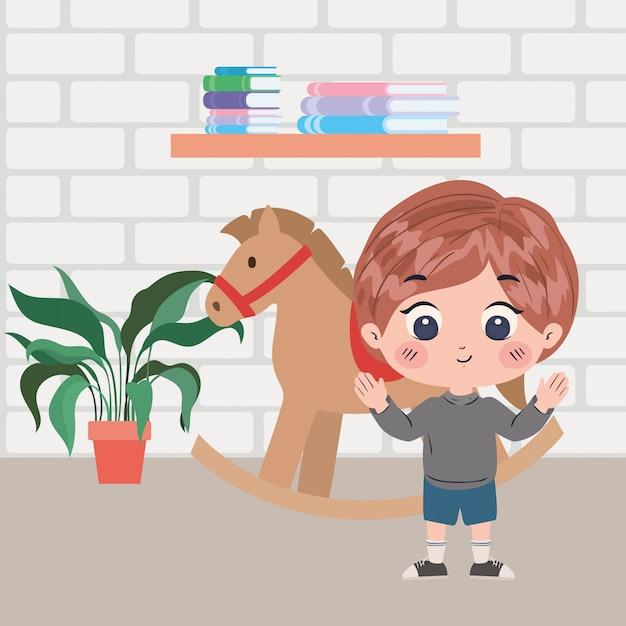 Boy cartoon in room illustration Premium Vector