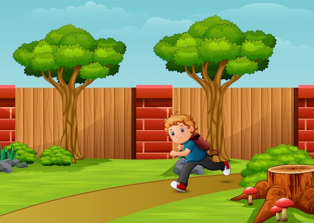 Boy cartoon running in the park city Premium Vector