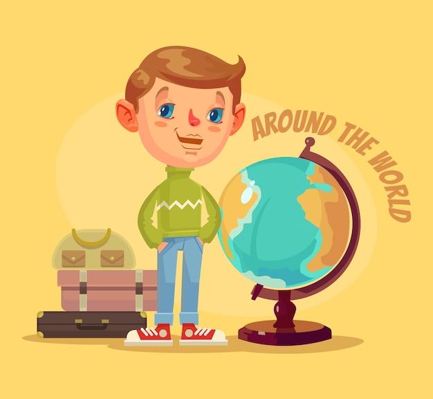 男の子のキャラクターは世界中を旅します。 Premiumベクター