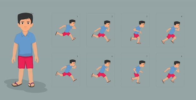 Boy character with run cycle animation sprites sheet Premium Vector