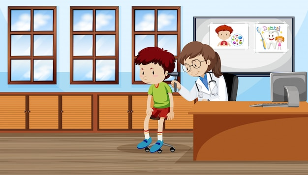 A boy checking ear with doctor Free Vector
