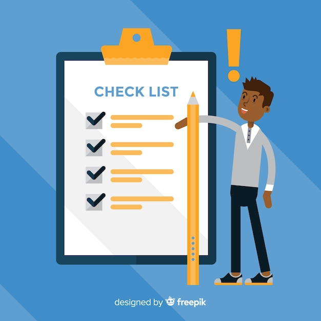 Boy checking list background Free Vector