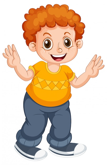 Boy child character on isolated background Free Vector