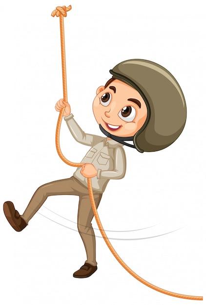 Ragazzo arrampicata su corda Vettore gratuito