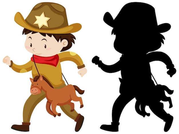 Boy in cowboy costume in color and silhouette Free Vector