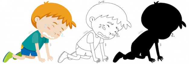 Boy crying on the floor position with its outline and silhouette Free Vector