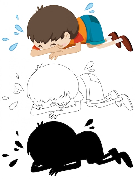 Boy crying on the floor with its outline and silhouette Free Vector