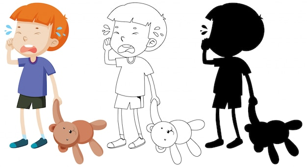 Boy crying and holding teddy bear with its outline and silhouette Free Vector