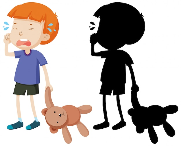 Boy crying and holding teddy bear with its silhouette Free Vector