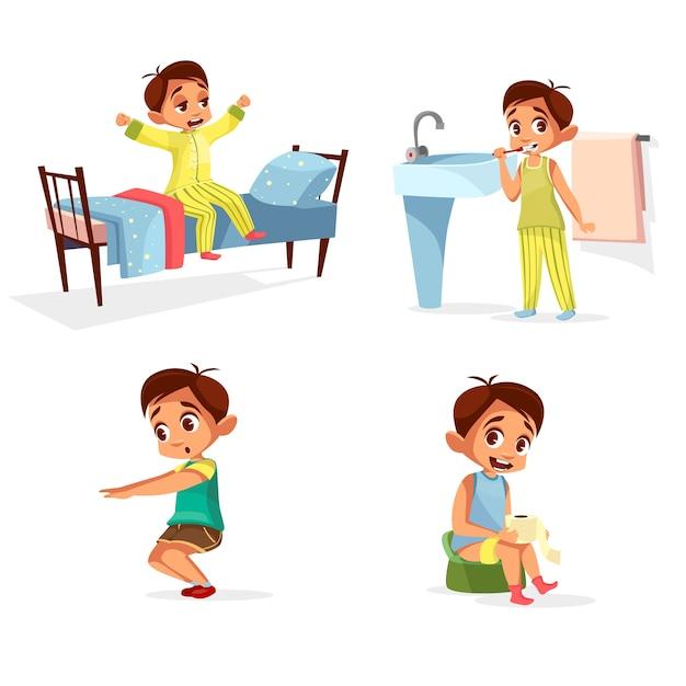 少年日常のルーチン、朝の活動が設定されています。男性キャラクターは目を覚ます、ストレッチ、歯を磨く 無料ベクター