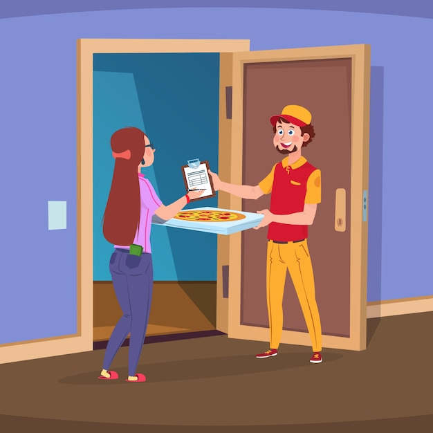 Boy deliver handing pizza and woman customer paying order. Premium Vector