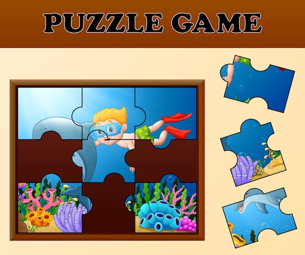 Boy diving and dolphin with puzzle concept Premium Vector