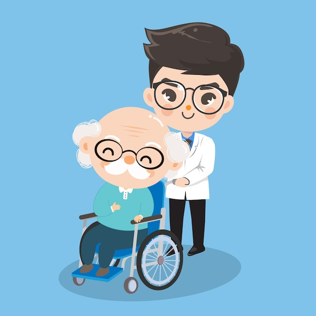 The boy doctor is taking care of old man patients with wheelchairs. Premium Vector
