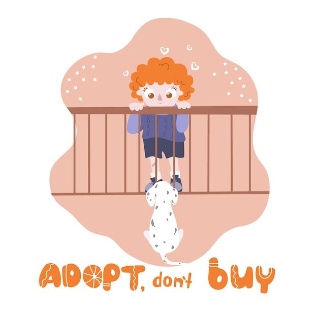 Boy and a dog Premium Vector