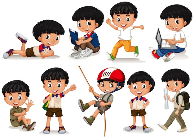 Boy doing different actions illustration Free Vector