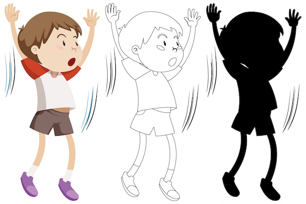 Boy doing exercise with its outline and silhouette Free Vector