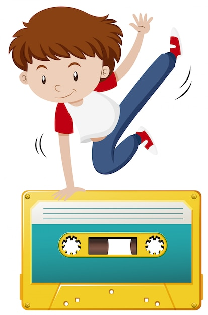 Boy doing hiphop on tape casette Free Vector