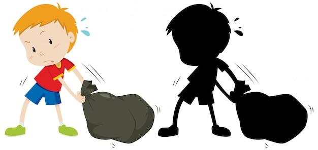 少年は色とそのシルエットで黒いゴミ袋をドラッグします 無料ベクター
