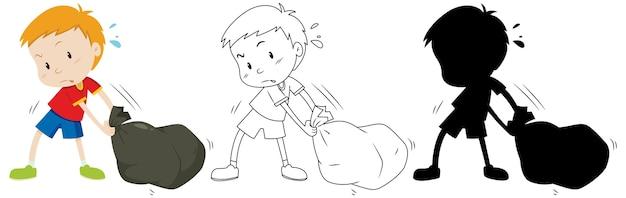 少年は色と輪郭とシルエットで黒いゴミ袋をドラッグします 無料ベクター