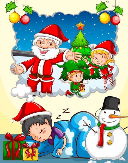 boy dreaming about christmas festival free vector
