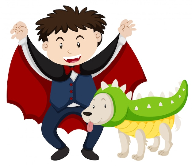 Boy dressed as vampire and dog as dinosaur Free Vector