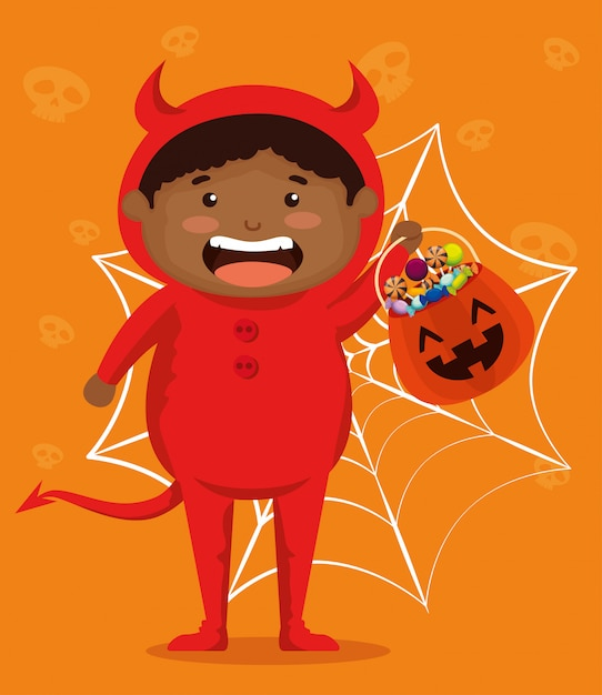 Boy dressed up as a little devil Free Vector