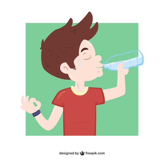 Boy drinking water Free Vector