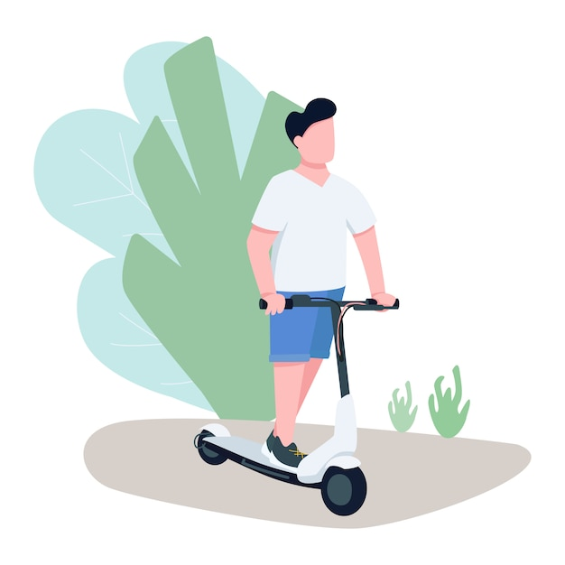 Boy on electric scooter character Premium Vector