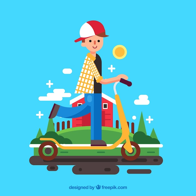 Boy on electric scooter Free Vector