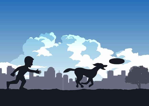소년 공원에서 강아지와 함께 디스크를 재생 즐길 프리미엄 벡터