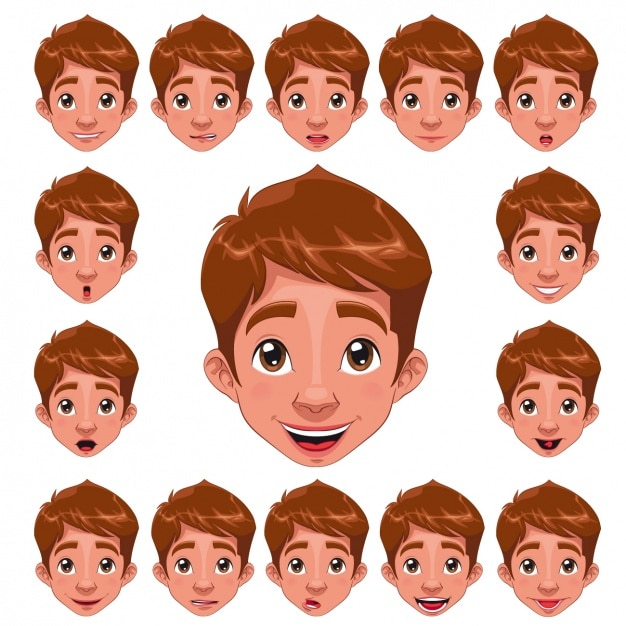 Boy Faces Collection Vector Free Download