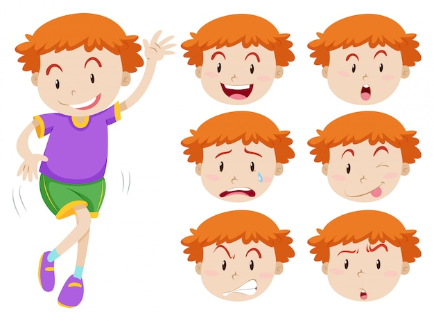 Boy and facial expressions Free Vector