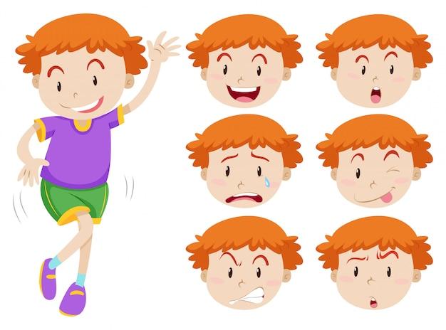 Ragazzo ed espressioni facciali Vettore gratuito