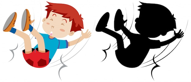 Boy fall down with its silhouette Free Vector