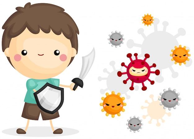 Бой мальчика с вирусом Бесплатные векторы