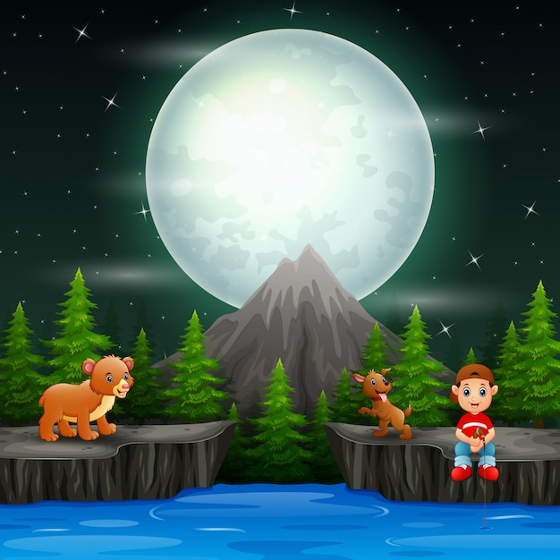 A boy fishing with animals in the night scene Premium Vector