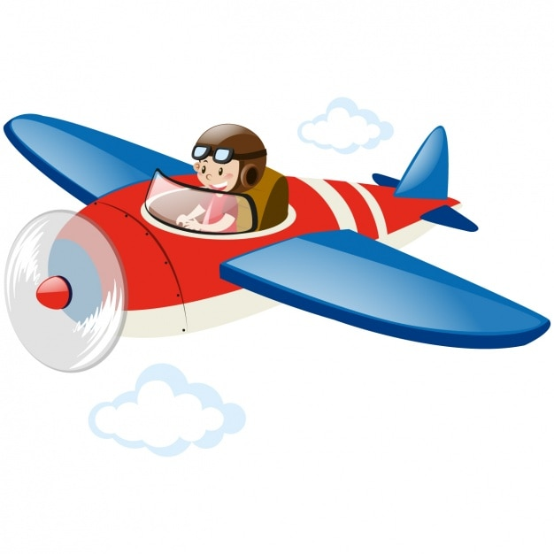 Boy flying in an airplane Free Vector